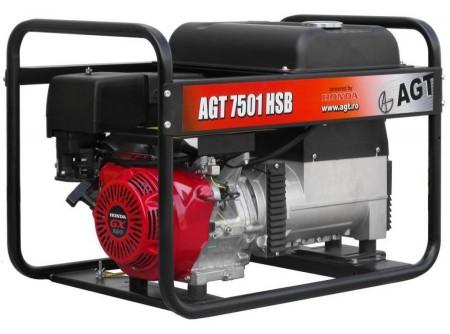 20-7501HSBAVR - Áramfejlesztő AGT 7501 HSB + AVR - AGT 7501 HSB benzines áramfejlesztő + AVR (Automata feszültségszabályozó)        Termékelőnyök:   Kompakt, kis súlyú áramfejlesztő Automatikus feszültségszabályozóval (AVR) ellátott generátor Hagyományosfémkeret, egyszerű mozgatás Erős, megbízható, eredeti, ipari HONDA motor Üzemidő: akár 11 óra 3000 fordulat/perc Dugaljak Hővédelemmel ellátott generátor Olajszenzor a motoron Kézi (berántós) kivitel Üzemóra számláló    AzAGT 7501 HSB+ AVR áramfejlesztő javasolt felhasználási területei:   Háztartási és kisiparihasználatra ajánlott Azépítőipari igényeknek megfelelő kialakítás, nyitott keret Könnyen szállítható, mozgatható Kisebb elektromos gépek üzemeltetésére kiválóan alkalmas       Rendelhető opciók:   kerékszett elektormos indítás   Tudta?  A hővédelemmel ellátott generátor megóvja az áramfejlesztőt a túlterheléstől.  A motoron találhatóolajszenzor leállítja a motort, ha abban a megengedettnél kevesebb olaj van.  Minden használat előtt ellenőrizze a motorolaj szintjét!   FIGYELMEZTETÉS!  Az AGT áramfejlesztőkhasználata előtt minden esetben olvassa el a gépekhez mellékelthasználati utasítást.       Teljesítmény (kVA) 5,9 Fázisonkénti áramerősség (A) 25,5   Feszültség (V) 230 Fáziseltolódás (cos ᵠ) 1   Frekvencia (Hz) 50 IP védettség IP23   Motor HONDA GX390 Zajszint (dB) 71   Üzemanyagtank (liter) 6,1 Nettó/ bruttó súly (kg) 75 / 80   Hengerûrtartalom (cm3) 389 Csomagolási méret h*sz*m (mm) 773×556×576   Generátor szinkron Csomagolás kartondoboz   Dugalj a készüléken(230V/16A) 1 db SCHUKO VTSZ 8502.2020   Dugalj a készüléken(230V/32A) 1 db CEE     Hővédelem a generátoron van     Olajszenzor a motoron van