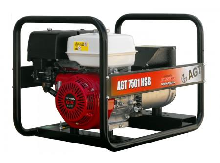 20-7501HSB - Áramfejlesztő AGT 7501 HSB -  AGT 7501 HSB benzinesáramfejlesztő        Termékelőnyök:   Kompaktáramfejlesztő Hagyományos erős, masszív fémkeret Erős, megbízható, eredeti, ipari HONDA motor Rendelhető kerékszett a könnyebb mozgatásért Rezgéscsillapító gumibakok 3000 fordulat/perc Hővédelemmel ellátott generátor Olajszenzor a motoron Kézi (berántós) kivitel Léghűtéses motor Üzemóra számláló    AzAGT 7501 HSBáramfejlesztő javasolt felhasználási területei:   Ipari használatra ajánlott Azépítőipari igényeknek megfelelő kialakítás, nyitott keret Hordozható, benzinmotoros áramfejlesztő Könnyen szállítható, mozgatható Kisebb elektromos gépek üzemeltetésére kiválóan alkalmas       Rendelhető opciók:  - kerékszett  - elektromos indítás  - AVR - automatikus feszültségszabályozás  Tudta?  A hővédelemmel ellátott generátor megóvja az áramfejlesztőt a túlterheléstől.  A motoron találhatóolajszenzor leállítja a motort, ha abban a megengedettnél kevesebb olaj van.  Minden használat előtt ellenőrizze a motorolaj szintjét!    FIGYELMEZTETÉS!  Az AGT áramfejlesztőkhasználata előtt minden esetben olvassa el a gépekhez mellékelthasználati utasítást.         Teljesítmény (kVA) 6,4 Fázisonkénti áramerősség (A) 27,7   Feszültség (V) 230 Fáziseltolódás (cos ᵠ) 1   Frekvencia (Hz) 50 IP védettség IP23   Motor HONDA GX390 Zajszint (dB) 71   Üzemanyagtank (liter) 6,1 Nettó/ bruttó súly (kg) 73 / 78   Hengerûrtartalom (cm3) 391 Csomagolási méret h*sz*m (mm) 773×556×576   Generátor szinkron Csomagolás kartondoboz   Dugalj a készüléken(230V/16A,32A) 2 db SCHUKO VTSZ 8502.2020   Hővédelem a generátoron van Kerékszett rendelhető   Olajszenzor a motoron van Elektromos indítás rendelhető   Üzemóra számláló van AVR (automatikus feszültségszabályozás) rendelhető
