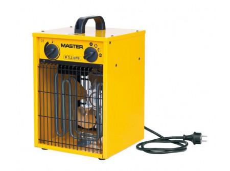 B3.3 - Hőlégfúvó MASTER B3,3 (elektromos 3,3kW) - MASTER B3,3elektromos hőlégfúvó beépített szobatermosztáttal (mobil fűtőberendezés)         Szabályozható teljesítmény 1,65 / 3,3kW Erős, tartós kialakítás Füstmentes, szagtalan, páramentes Nincs oxigénfogyasztás Csak szellőztetés üzemmód Alacsony zajszint Automatikus újraindítás Hővédelemmel ellátott motor Rozsdamentes acél fűtőszálak Túlmelegedés elleni termosztát     Katalógus            Kiválasztási segédlet               A MASTER B3,3elektromos hőlégfúvó javasolt felhasználási területei:   Szakipari, befejező munkálatok felgyorsítására (festőknek, kőműveseknek, burkolóknak) Irodák, kisebb helyiségek, raktárak, műhelyekfűtésére Üzletek,termek, sátrakfűtése Temperáló fűtés,fagymentesítés Háztartásokbantartalék fűtési megoldásként ................és bárhol, ahol egy kis melegre van szükség           A MASTER elektromos hőlégfúvókba épített rozsdamentesfűtőszálaknem izzanak látható, vörös fénnyel,ígynagyobb hatékonyság mellett az élettartamuk jóval hosszabb. A készülékekben lévő ventilátoroknagy mennyiségű levegőt szállítanak,ez biztosítja a fűtendő helyiségek levegőjének hatékony felfűtését. E két tényező együttes hatásaként a készülékekből távozó levegőnem forró, ez azonban nem jelenti a készülék rendellenes működését.  Afűtőberendezésekipari alkalmazásra alkalmasak, folyamatosan üzemeltethetőek.        Tudta?A beépített szobatermosztát  A hőlégfúvóbaépített szobatermosztát segítségével szabályozható a fűtött helyiség hőmérséklete.A beállított hőmérséklet elérésekor a légmelegítő fűtőszálakikapcsol, a ventilátor folyamatosan működiktovábbéskeringeti a levegőt. A hőmérséklet csökkenésével a fűtés újra bekapcsol.A hőlégfúvó szobatermosztát gombja végállások között működik, nem körbeforgatható!    FIGYELMEZTETÉS!   TILOS a légmelegítő készüléket az elektromos aljzatbaól történő kihúzással áramtalanítani.Áramtalanítás előtt ki kell kapcsolniés meg kell várni, hogy a készülék lehűljön. Kikapcsolás után a hőlégfúvóautom