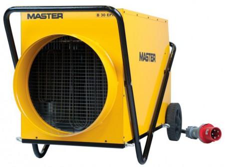 B30 - Hőlégfúvó MASTER B30 (elektromos 30kW) - MASTER B30elektromos hőlégfúvó beépített szobatermosztáttal (mobil fűtőberendezés)       Szabályozható teljesítmény 15/ 30kW Erős, tartós kialakítás Füstmentes, szagtalan, páramentes Nincs oxigénfogyasztás Csak szellőztetés üzemmód Alacsony zajszint Automatikus újraindítás Hővédelemmel ellátott motor Rozsdamentes acél fűtőszálak Túlmelegedés elleni termosztát     Katalógus          Kiválasztási segédlet             A MASTER B30elektromos hőlégfúvó javasolt felhasználási területei:   Általános fűtési feladatokra ésszárításra az építőiparban Szakipari, befejező munkálatok felgyorsítására (festőknek, kőműveseknek, burkolóknak) Kölcsönzőkben bérbeadásra Csarnokok, raktárak, műhelyekfűtésére különféle más iparágakban A mezőgazdaságban, az állattartás és a növénytermesztés számos területén (fűtés, terményszárítás, fagymentesítés) Üzletek, termek, sátrakfűtése ................és bárhol, ahol melegre van szükség             A B30elektromos hőlégfúvóhoz7,6 métereslégvezető csőcsatlakoztatható, melynek használatával a légmelegítő készülék még sokoldalúbban használható! A légvezető csöveket a velük szállítottrögzítőhevederrelkell a gépre rögzíteni.  A csövek megóvásáraerős, PVC-ből készülttárolózsákotis tudunk ajánlani.  Tudta?  Szükség eseténakár két cső is csatlakoztathatóakétcsöves levegőkivezető feltétalkalmazásával.            A MASTER elektromos hőlégfúvókba épített rozsdamentesfűtőszálaknem izzanak látható, vörös fénnyel,ígynagyobb hatékonyság mellett az élettartamuk jóval hosszabb. A készülékekben lévő ventilátoroknagy mennyiségű levegőt szállítanak,ez biztosítja a fűtendő helyiségek levegőjének hatékony felfűtését. E két tényező együttes hatásaként a hőlégfúvóbóltávozó levegőnem forró, ez azonban nem jelenti a készülék rendellenes működését.  Afűtőberendezések (hőlégfúvók) ipari alkalmazásra alkalmasak, folyamatosan üzemeltethetőek.         FIGYELMEZTETÉS!   TILOS a légmelegítő készüléket az elektromos aljzatbaól történő 