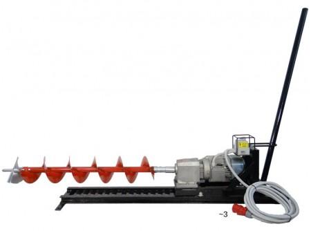 55-930148 - Vízszintes ipari talajfúrógép EUROKOMAX elektromos 400V (tartozékokkal) -  EUROKOMAX ipari talajfúró/ útátfúró  - vízszintes talajfúrószéleskörűen alkalmazható általános és speciális talajfúrási munkálatok során  - közművektelepítésekor a meglévő, szilárd burkolat bontása nélkül, út vagy más tereptárgy alatt furatot készítsünk a talajban  - víz, gáz, szennyvíz, áram és egyéb vezetékek építéséhez szükséges átvezetésekhez  - gyors, hatékony, így hamar megtérül az ára  - maximális hatótávolsága 15 méter(Ø130mm fejjel)  - Ø130, Ø200, Ø250mm átmérőjű fúrószárak  - elektromos motor 2,2 kW, 400 V, ~3fázisú  - dugvilla ipari 5 pólusú (~3fázisú / 16A)  -kábel 5m / 5×1,5 mm2 MT (max. 8 méteres hosszabbító használata engedélyezett -szálankénti vezető keresztmetszet minimum 1.5 mm2)    Leszállított tartozékok:  - rögzítő szegek (4db, kicsi)  - előtolókar (1db)  - vezetősín (1db)    Rendelhető tartozékok:  - kardán csukló  -Ø130, 200 és 250 mm fúrószárak (hossz 1m)  -Ø130, 200 és 250 mm fúrófejek (hossz 24cm)  -illetve Ø300 mm bővítószár    Bővítőfej használata:egy speciális fúrófej, ami egy meglévő furat átmérőjét nagyobbra bővíti.    Hossza: 600 mm. Átmérője: Ø300 mm.  Letölthető útmutató a talajfúró bővítőfej használatához    Talajfúrógép és tartozékok súlya (kg)        Megnevezés   Súly (kg)    Elektromos motor 46,5   Elektromos talajfúró komplett szett 85   Benzin motor 61   Benzines talajfúró komplett szett 112   FúrószárØ 130 7,5   FúrószárØ 200 8,5   FúrószárØ 250 9,5   BővítőszárØ 300 9,5   FúrófejØ 130 3   FúrófejØ 200 3,5   FúrófejØ 250 4   Sín 27   Kipufogó 3,5   Előtoló rúd 2,5   2 db talpszélesítő 3   4 db nagy tüske 3,5   4 db kis szeg 2,5   kardán 3,5   csörlő 4       ROBBANTOTT RAJZ          Szállítási kód  10    Motor  Elektromos 400V    Feszültség (V)  400 V (3~)    Teljesítmény (kW)  2,2    Fordulatszám (1/min)  40    Max. furatátmérő (mm)  250 - 300    Fúrási távolság max. (m)  10 - 15    Súly (kg)  85 (motor+tartozék)    Irányváltó kapcsoló  van