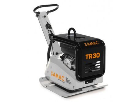 74-TR30B - Irányváltós lapvibrátor SAMAC TR30B -    Irányváltós lapvibrátor SAMAC TR30- HONDA GX200 motorral      A SAMACirányváltós lapvibrátorok használatávalnagyobbtömörítési teljesítmény érhető elazelőre- és hátramenetnek és a kompakt kivitelnek köszönhetően.  ASAMAC lapvibrátorokhosszú távon is megbízhatóak.    Az előre- és hátramenetben is munkát végzőlapvibrátorok nagyobb méretűföldmunkák tömörítési feladataira ideálisak, valamint olyan helyeken, ahol a lapvibrátor csak nehézkesenlenne megfordítható. A nagyobb tömegű lapvibrátorokkalnagy talajtömörség érhető el.     Nagy tömörítési teljesítmény Rendkívül masszív, robusztus kivitel Honda GX200 motor - profi, megbízható, hosszú élettartam Motorvédő burkolat Könnyű indítás Alacsony karbantartási költség     Leszállított tartozék:  - szállítókerék1pár    Műszaki adatok:        Típus       TR30       Tömörítési erő   30 kN     Rezgési frekvencia   81 Hz     Tömörítőlap szélessége   60 cm     Üzemi súly   200 kg     Haladási sebesség   0-25m/min     Motor   Honda GX200     Motor teljesítmény   5,5 LE / 4,1 kW       Zajszint Lpa (dB)       93 dB (ISO 11202)                 0