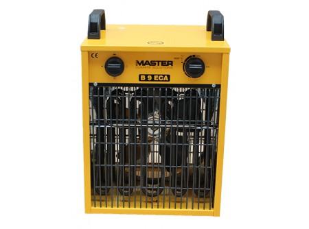 B9ECA - Elektromos hőlégfúvó MASTER B9ECA - MASTER B9ECAelektromos hőlégfúvó beépített szobatermosztáttal (mobil fűtőberendezés)  A MASTER B9ECA elektromos hőlégfúvó a 2018/2019 téli szezonra elfogyott. Várható beérkezés: 2019. ősz       Szabályozható teljesítmény 4,5/ 9kW Erős, tartós kialakítás Füstmentes, szagtalan, páramentes Nincs oxigénfogyasztás Csak szellőztetés üzemmód Alacsony zajszint Automatikus újraindítás Hővédelemmel ellátott motor Rozsdamentes acél fűtőszálak Túlmelegedés elleni termosztát Méret: 420x320x410 Súly: 8,7                         A MASTER B9ECAelektromos hőlégfúvó javasolt felhasználási területei:   Szakipari, befejező munkálatok felgyorsítására (festőknek, kőműveseknek, burkolóknak) Irodák, kisebb helyiségek, raktárak, műhelyekfűtésére Üzletek,termek, sátrakfűtése Temperáló fűtés,fagymentesítés Háztartásokbantartalék fűtési megoldásként               A MASTER elektromos hőlégfúvókba épített rozsdamentesfűtőszálaknem izzanak látható, vörös fénnyel,ígynagyobb hatékonyság mellett az élettartamuk jóval hosszabb. A készülékekben lévő ventilátoroknagy mennyiségű levegőt szállítanak,ez biztosítja a fűtendő helyiségek levegőjének hatékony felfűtését. E két tényező együttes hatásaként a készülékekből távozó levegőnem forró, ez azonban nem jelenti a készülék rendellenes működését.  Afűtőberendezésekipari alkalmazásra alkalmasak, folyamatosan üzemeltethetőek.       Tudta?  A hőlégfúvóbaépített szobatermosztát segítségével szabályozható a fűtött helyiség hőmérséklete.A beállított hőmérséklet elérésekor a légmelegítő fűtőszálakikapcsol, a ventilátor folyamatosan működiktovábbéskeringeti a levegőt. A hőmérséklet csökkenésével a fűtés újra bekapcsol.A hőlégfúvó szobatermosztát gombja végállások között működik, nem körbeforgatható!    FIGYELMEZTETÉS!   TILOS a légmelegítő készüléket az elektromos aljzatbaól történő kihúzással áramtalanítani.Áramtalanítás előtt ki kell kapcsolniés meg kell várni, hogy a készülék lehűljön. Kikapcsolás után a hőlégfúvóauto